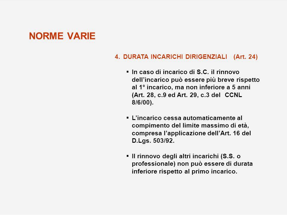 NORME VARIE 4.DURATA INCARICHI DIRIGENZIALI (Art. 24) In caso di incarico di S.C. il rinnovo dellincarico può essere più breve rispetto al 1° incarico