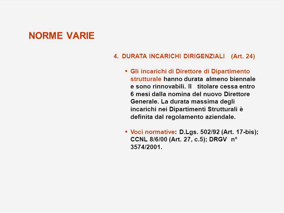 NORME VARIE 4.DURATA INCARICHI DIRIGENZIALI (Art. 24) Gli incarichi di Direttore di Dipartimento strutturale hanno durata almeno biennale e sono rinno