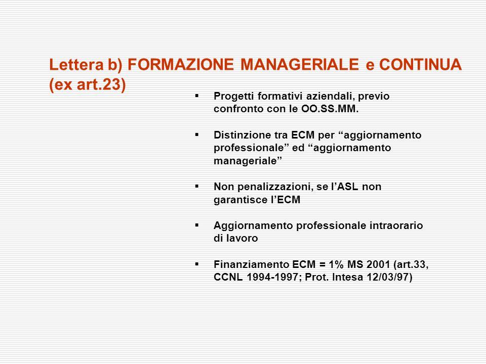 Progetti formativi aziendali, previo confronto con le OO.SS.MM. Distinzione tra ECM per aggiornamento professionale ed aggiornamento manageriale Non p