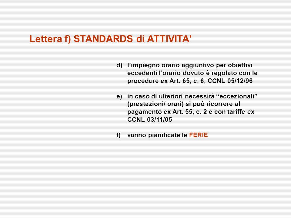 d)limpiegno orario aggiuntivo per obiettivi eccedenti lorario dovuto è regolato con le procedure ex Art. 65, c. 6, CCNL 05/12/96 e)in caso di ulterior