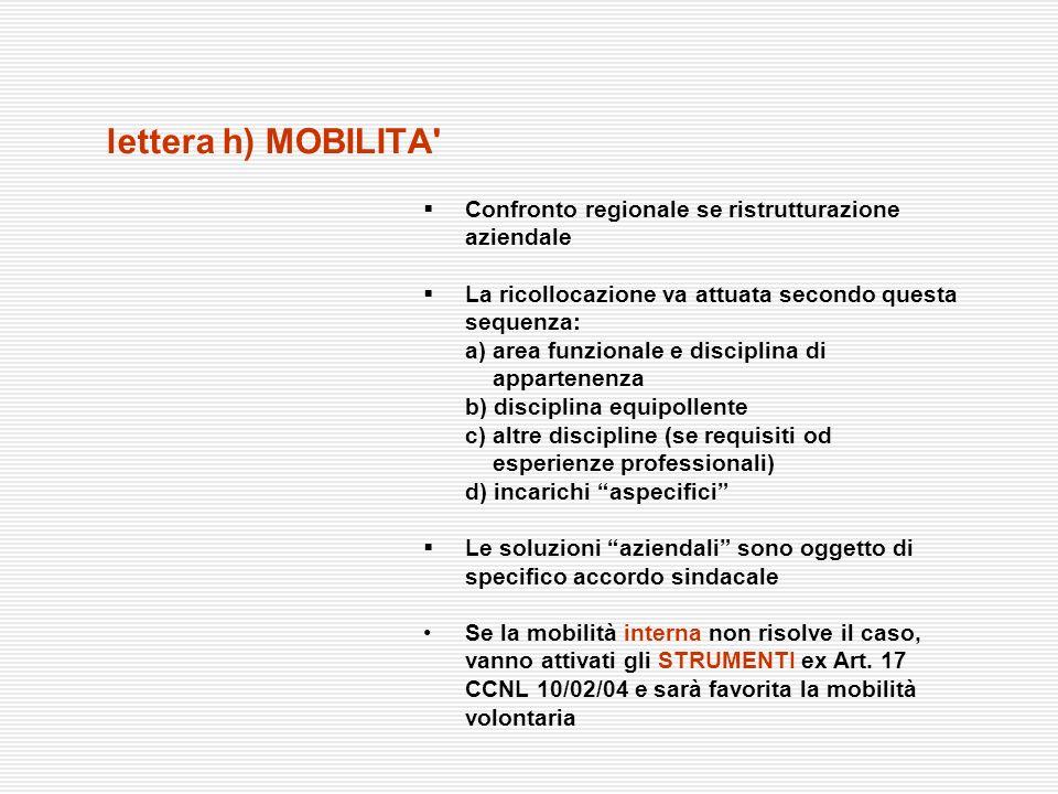 lettera h) MOBILITA' Confronto regionale se ristrutturazione aziendale La ricollocazione va attuata secondo questa sequenza: a) area funzionale e disc