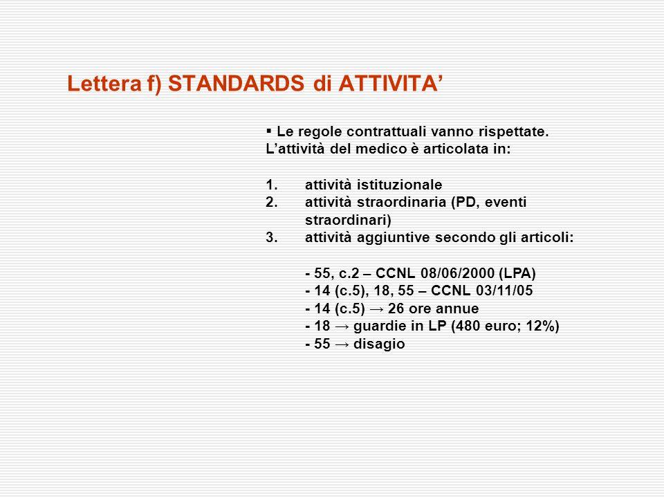 lettera i) LP e LISTE di ATTESA La Regione rivedrà la direttiva regionale sulla LP (DGR n° 54/2002) premio confronto con le OO.SS.MM.