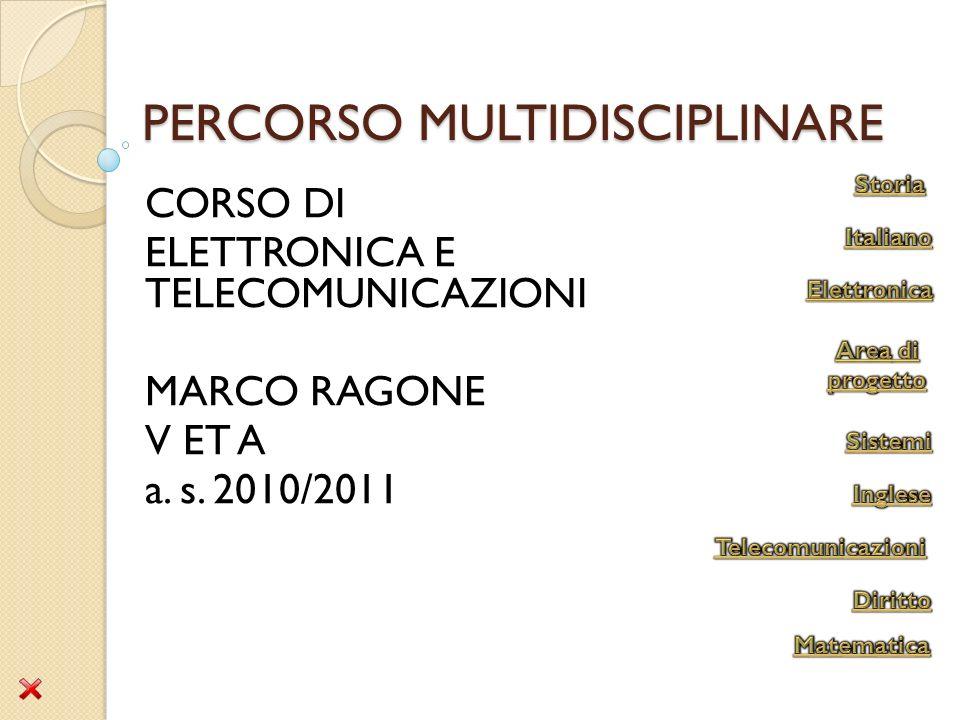 PERCORSO MULTIDISCIPLINARE CORSO DI ELETTRONICA E TELECOMUNICAZIONI MARCO RAGONE V ET A a. s. 2010/2011