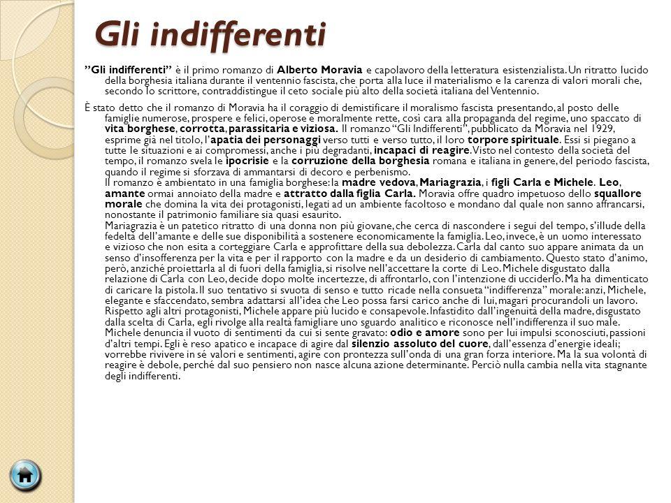 Gli indifferenti Gli indifferenti è il primo romanzo di Alberto Moravia e capolavoro della letteratura esistenzialista. Un ritratto lucido della borgh