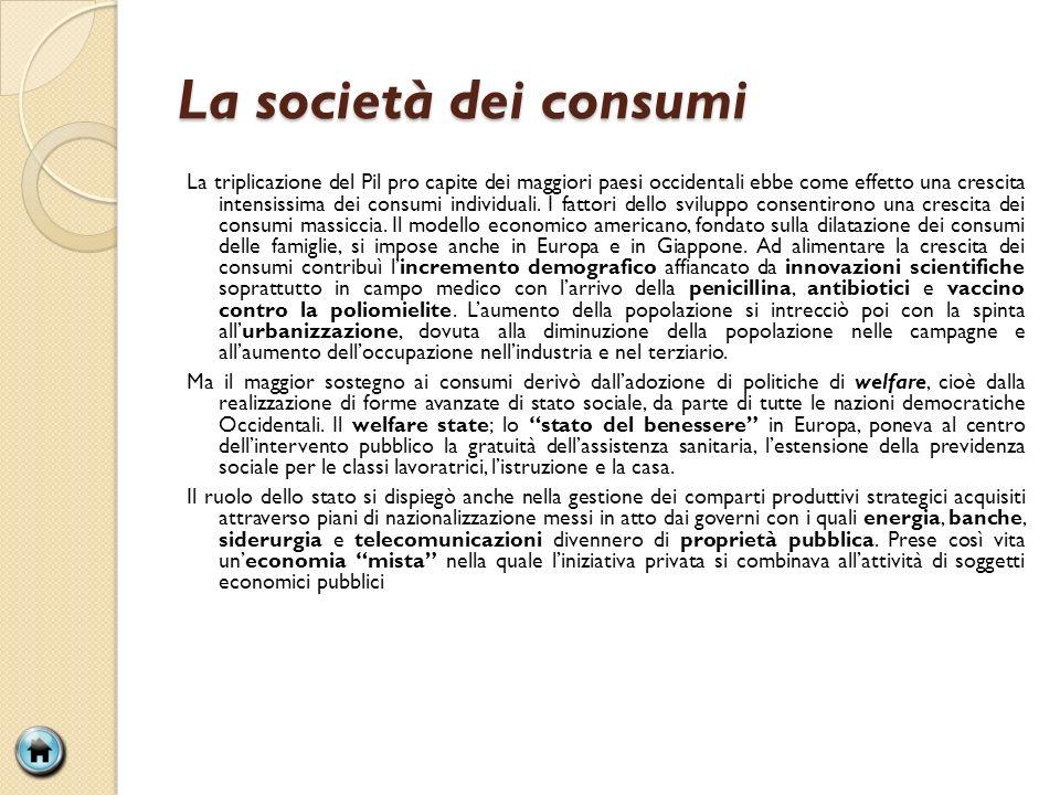 La società dei consumi La triplicazione del Pil pro capite dei maggiori paesi occidentali ebbe come effetto una crescita intensissima dei consumi individuali.