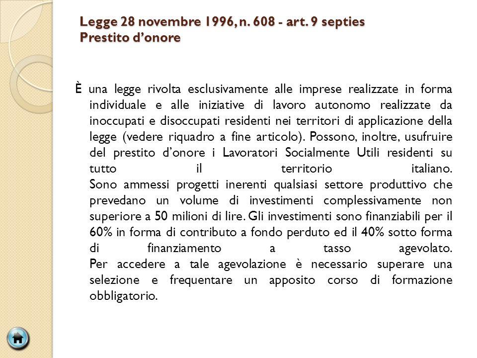 Legge 28 novembre 1996, n. 608 - art. 9 septies Prestito donore È una legge rivolta esclusivamente alle imprese realizzate in forma individuale e alle