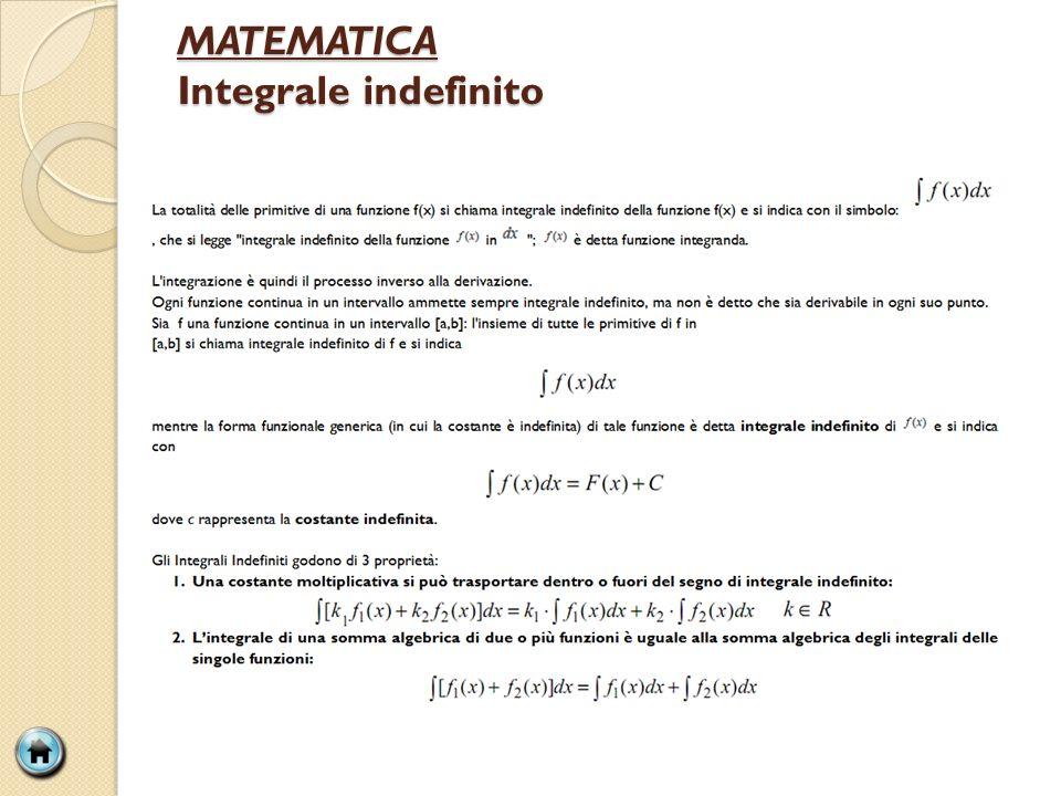 MATEMATICA Integrale indefinito