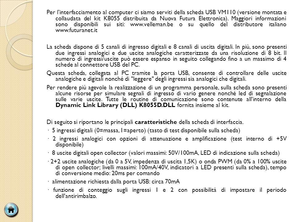 Per linterfacciamento al computer ci siamo serviti della scheda USB VM110 (versione montata e collaudata del kit K8055 distribuita da Nuova Futura Elettronica).