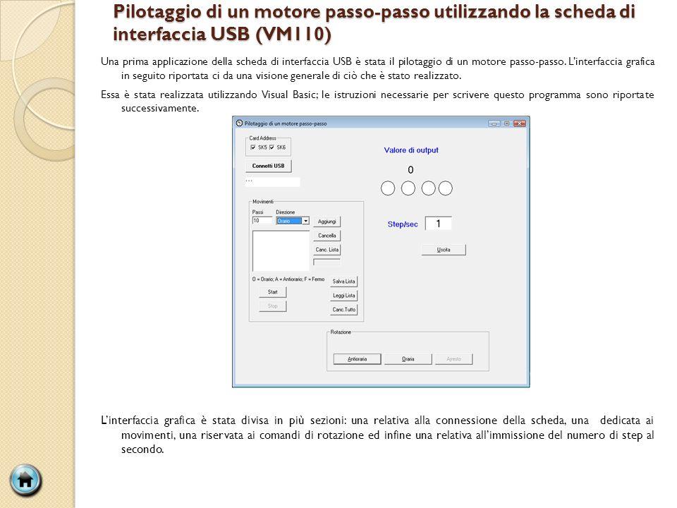 Pilotaggio di un motore passo-passo utilizzando la scheda di interfaccia USB (VM110) Una prima applicazione della scheda di interfaccia USB è stata il