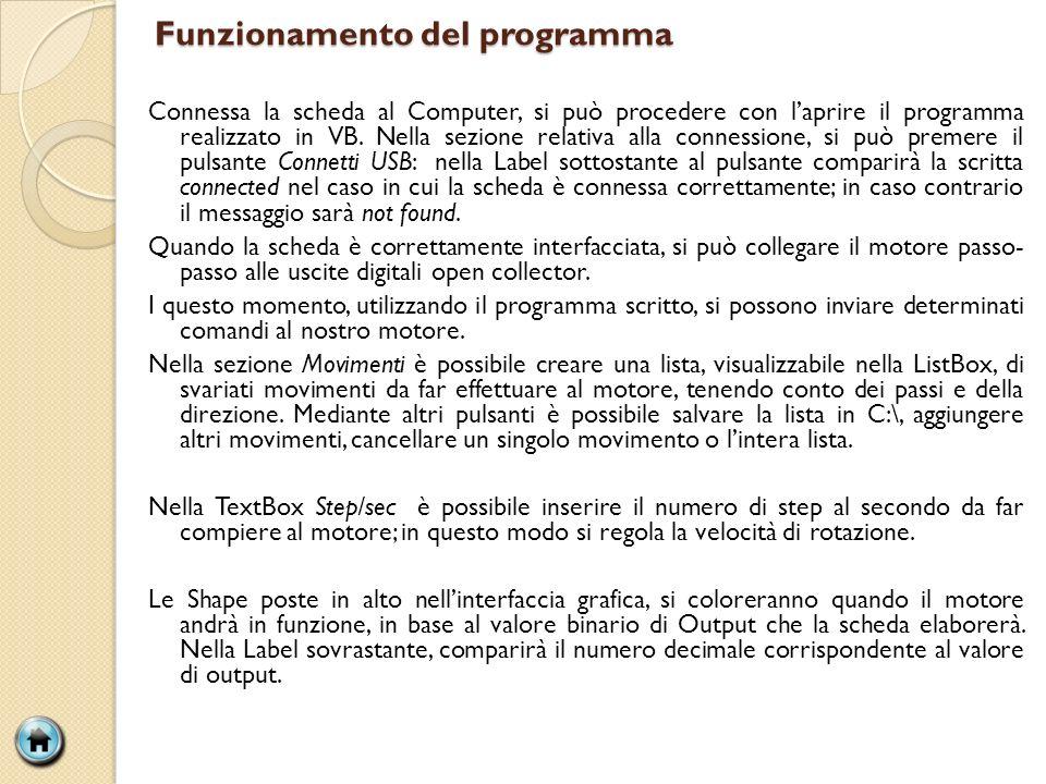 Funzionamento del programma Connessa la scheda al Computer, si può procedere con laprire il programma realizzato in VB. Nella sezione relativa alla co