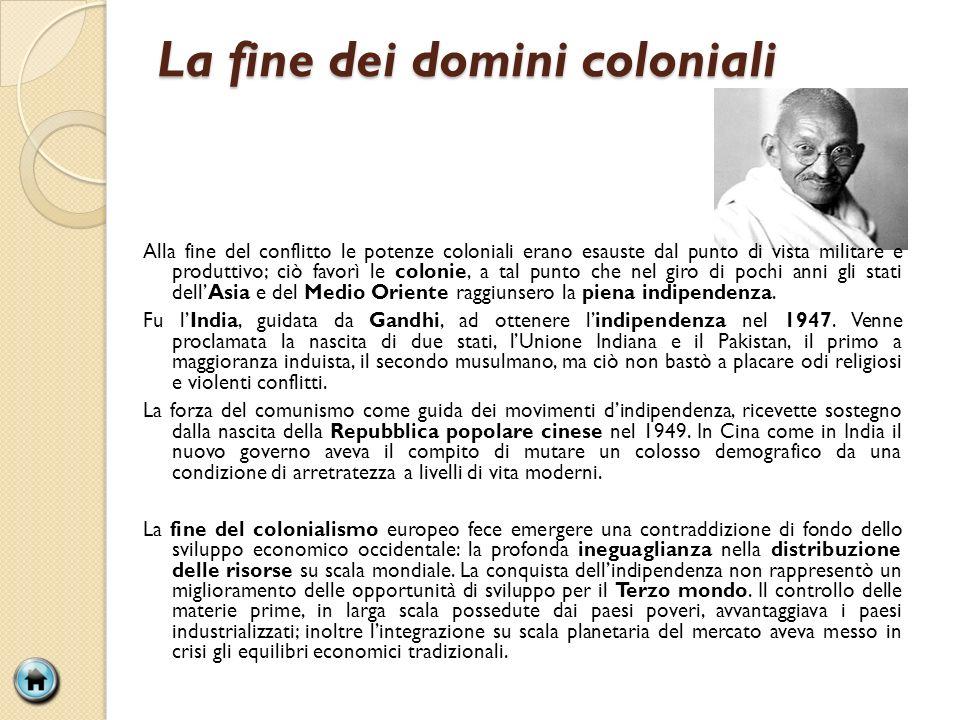 La fine dei domini coloniali Alla fine del conflitto le potenze coloniali erano esauste dal punto di vista militare e produttivo; ciò favorì le coloni