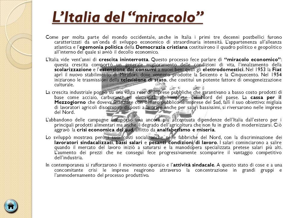LItalia del miracolo Come per molta parte del mondo occidentale, anche in Italia i primi tre decenni postbellici furono caratterizzati da unonda di sv