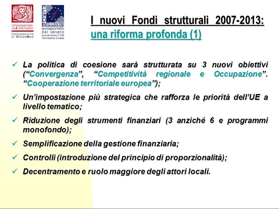 La politica di coesione sarà strutturata su 3 nuovi obiettivi (Convergenza, Competitività regionale e Occupazione.Cooperazione territoriale europea); La politica di coesione sarà strutturata su 3 nuovi obiettivi (Convergenza, Competitività regionale e Occupazione.Cooperazione territoriale europea); Unimpostazione più strategica che rafforza le priorità dellUE a livello tematico; Unimpostazione più strategica che rafforza le priorità dellUE a livello tematico; Riduzione degli strumenti finanziari (3 anziché 6 e programmi monofondo); Riduzione degli strumenti finanziari (3 anziché 6 e programmi monofondo); Semplificazione della gestione finanziaria; Semplificazione della gestione finanziaria; Controlli (introduzione del principio di proporzionalità); Controlli (introduzione del principio di proporzionalità); Decentramento e ruolo maggiore degli attori locali.