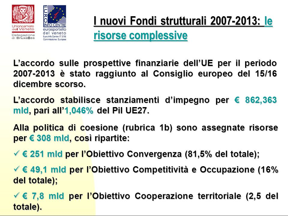 Laccordo sulle prospettive finanziarie dellUE per il periodo 2007-2013 è stato raggiunto al Consiglio europeo del 15/16 dicembre scorso.