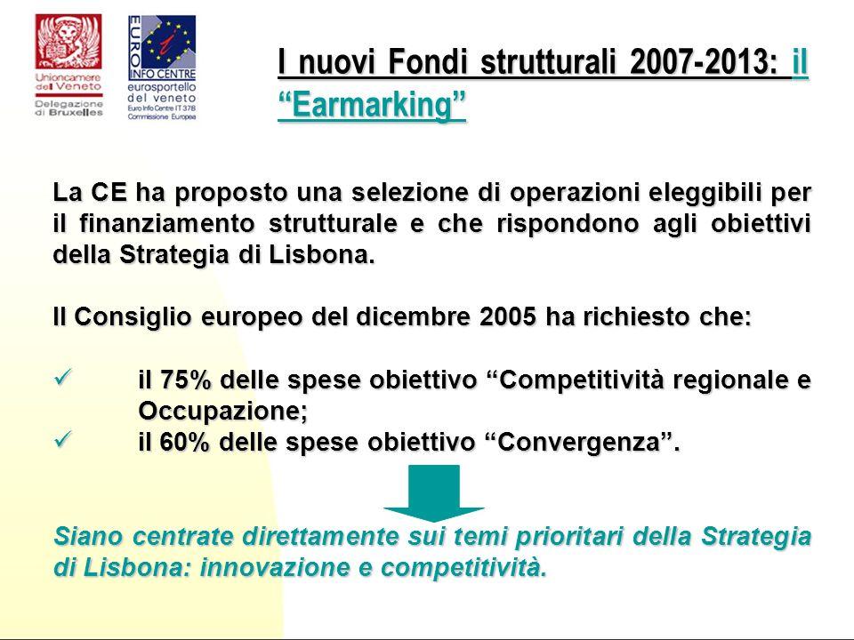 La CE ha proposto una selezione di operazioni eleggibili per il finanziamento strutturale e che rispondono agli obiettivi della Strategia di Lisbona.