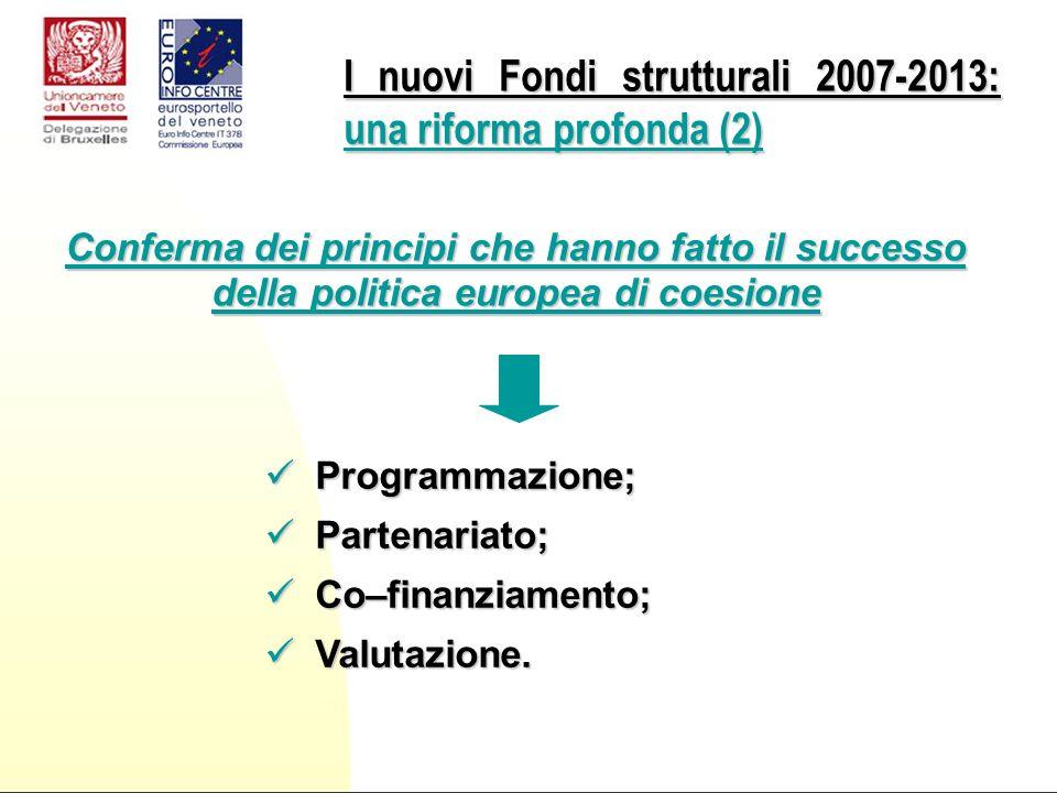 Programmazione; Programmazione; Partenariato; Partenariato; Co–finanziamento; Co–finanziamento; Valutazione.