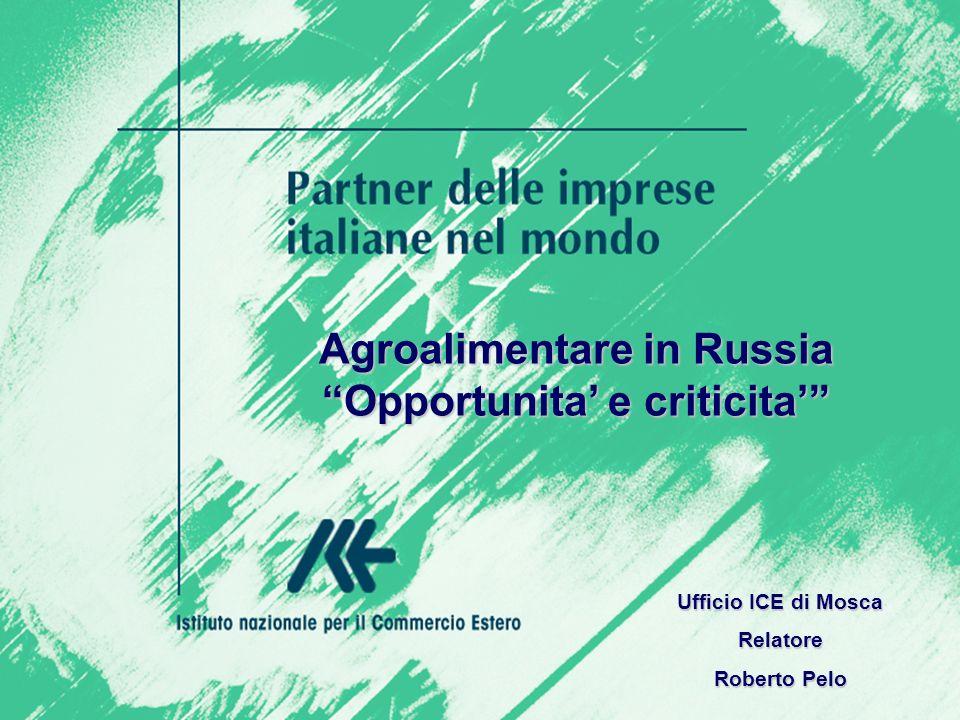 Agroalimentare in Russia Opportunita e criticita Ufficio ICE di Mosca Relatore Roberto Pelo
