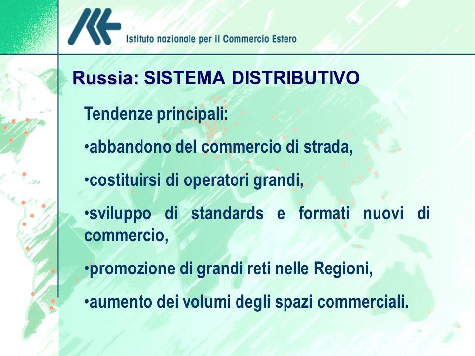 Russia: Russia: SISTEMA DISTRIBUTIVO Tendenze principali: abbandono del commercio di strada, costituirsi di operatori grandi, sviluppo di standards e formati nuovi di commercio, promozione di grandi reti nelle Regioni, aumento dei volumi degli spazi commerciali.