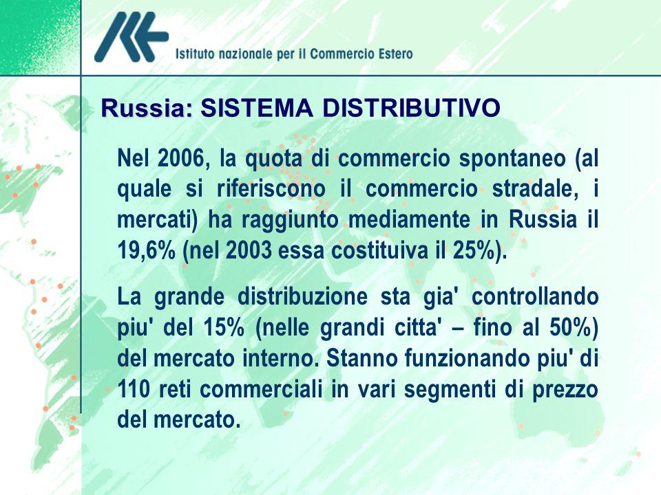 Russia: Russia: SISTEMA DISTRIBUTIVO Nel 2006, la quota di commercio spontaneo (al quale si riferiscono il commercio stradale, i mercati) ha raggiunto mediamente in Russia il 19,6% (nel 2003 essa costituiva il 25%).