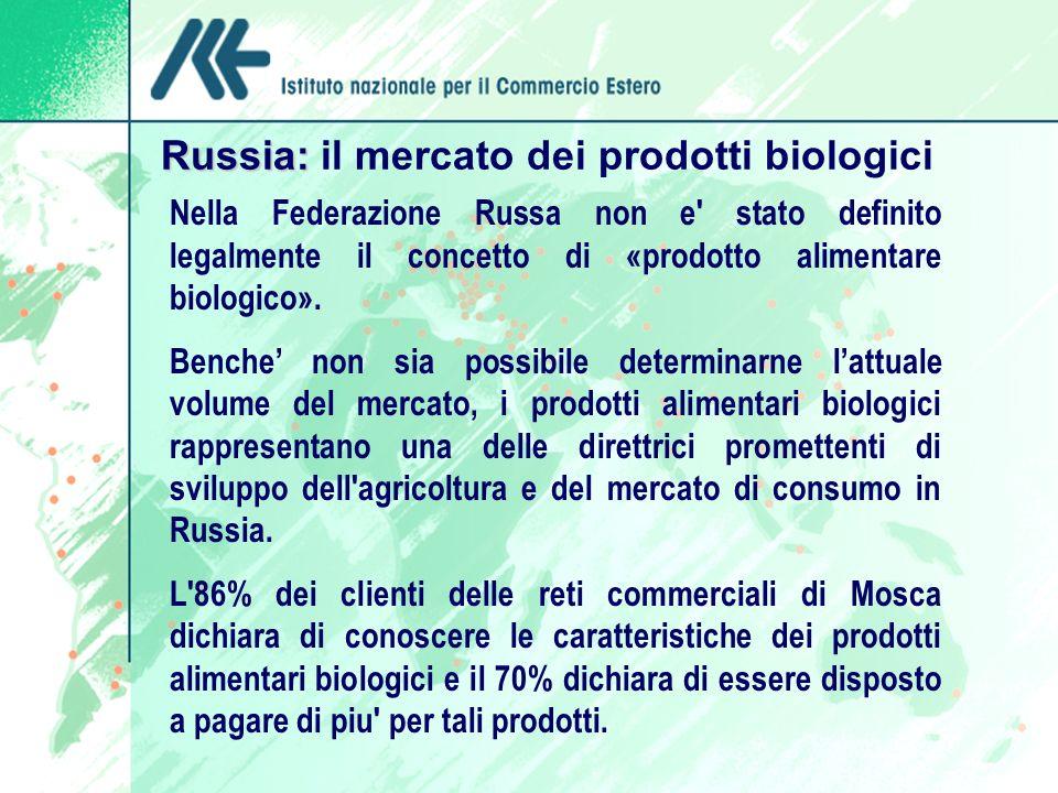 Russia: Russia: il mercato dei prodotti biologici Nella Federazione Russa non e stato definito legalmente il concetto di «prodotto alimentare biologico».