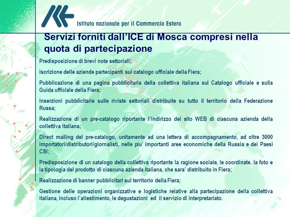 Servizi forniti dallICE di Mosca compresi nella quota di partecipazione Predisposizione di brevi note settoriali; Iscrizione delle aziende partecipant