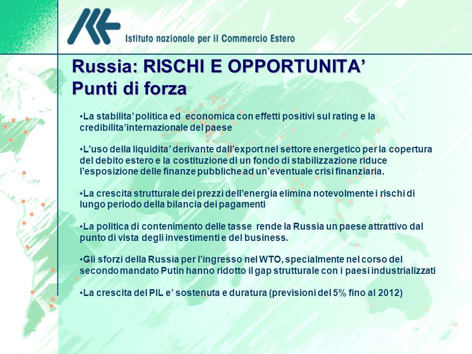 Russia: RISCHI E OPPORTUNITA Punti di forza La stabilita politica ed economica con effetti positivi sul rating e la credibilitainternazionale del paes