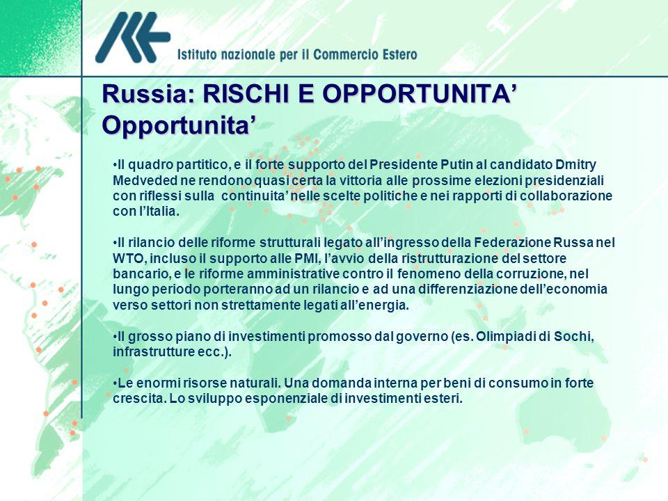 Russia: RISCHI E OPPORTUNITA Opportunita Il quadro partitico, e il forte supporto del Presidente Putin al candidato Dmitry Medveded ne rendono quasi c