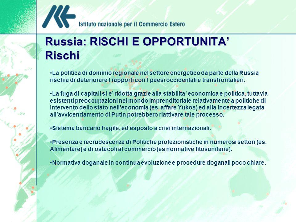 Russia: RISCHI E OPPORTUNITA Rischi La politica di dominio regionale nel settore energetico da parte della Russia rischia di deteriorare I rapporti con I paesi occidentali e transfrontalieri.