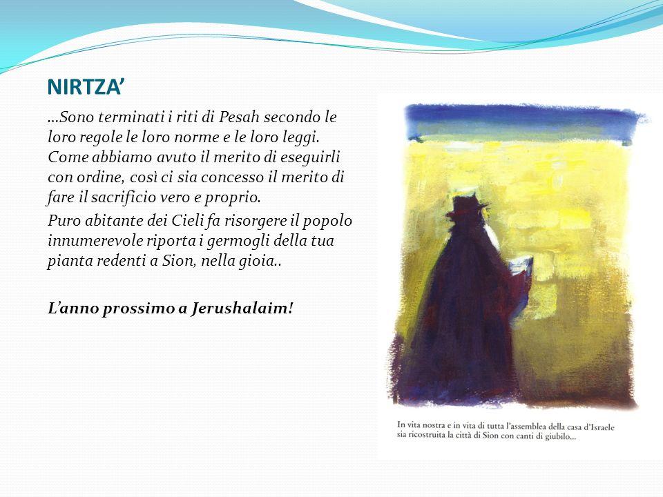 NIRTZA …Sono terminati i riti di Pesah secondo le loro regole le loro norme e le loro leggi. Come abbiamo avuto il merito di eseguirli con ordine, cos