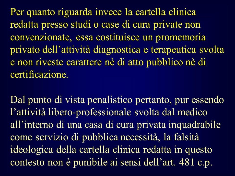 Per quanto riguarda invece la cartella clinica redatta presso studi o case di cura private non convenzionate, essa costituisce un promemoria privato d