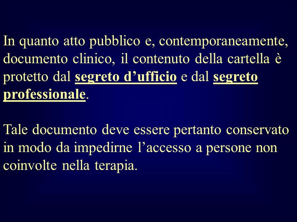 In quanto atto pubblico e, contemporaneamente, documento clinico, il contenuto della cartella è protetto dal segreto dufficio e dal segreto profession