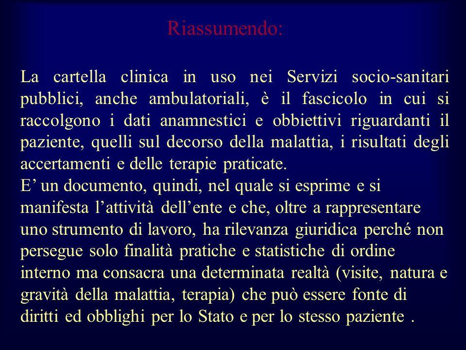 Riassumendo: La cartella clinica in uso nei Servizi socio-sanitari pubblici, anche ambulatoriali, è il fascicolo in cui si raccolgono i dati anamnesti