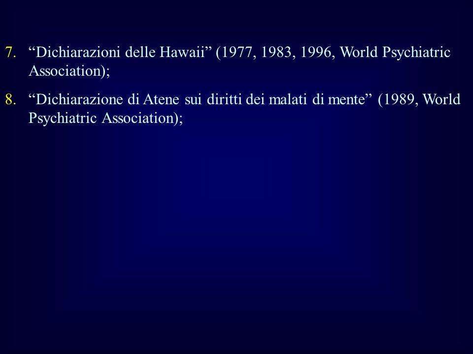 7.Dichiarazioni delle Hawaii (1977, 1983, 1996, World Psychiatric Association); 8.Dichiarazione di Atene sui diritti dei malati di mente (1989, World