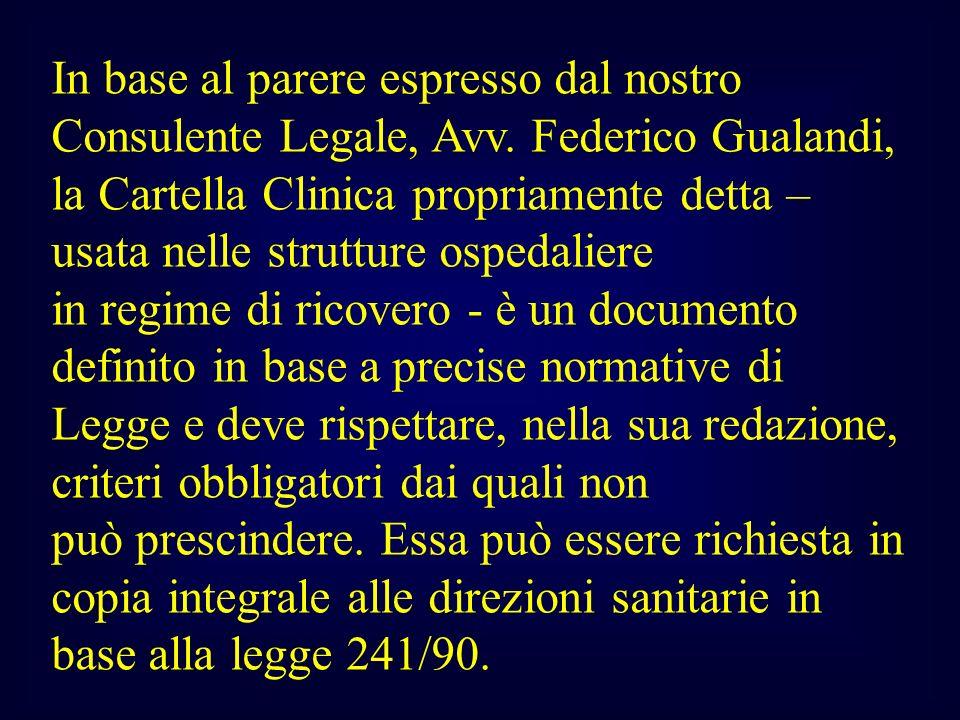 In base al parere espresso dal nostro Consulente Legale, Avv. Federico Gualandi, la Cartella Clinica propriamente detta – usata nelle strutture ospeda