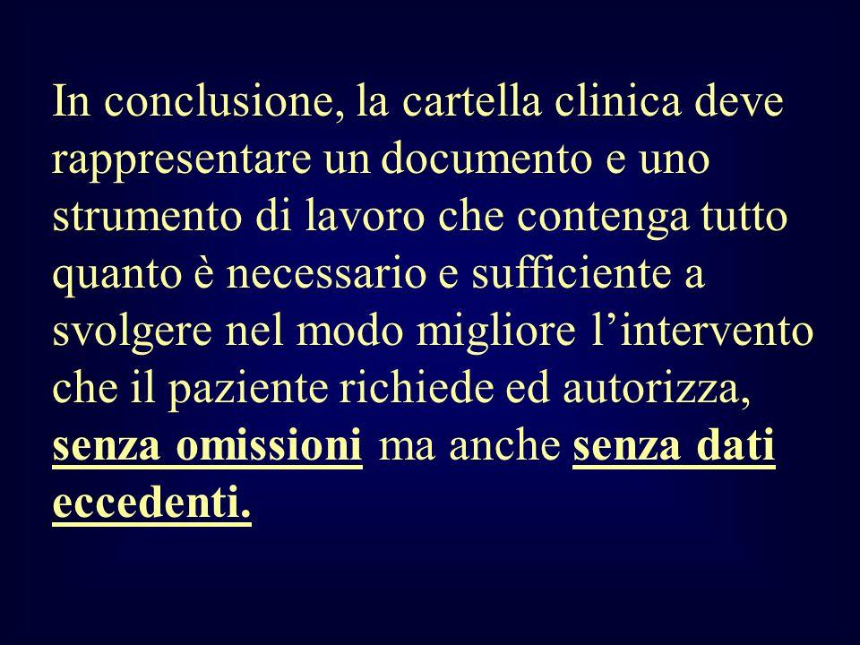 In conclusione, la cartella clinica deve rappresentare un documento e uno strumento di lavoro che contenga tutto quanto è necessario e sufficiente a s