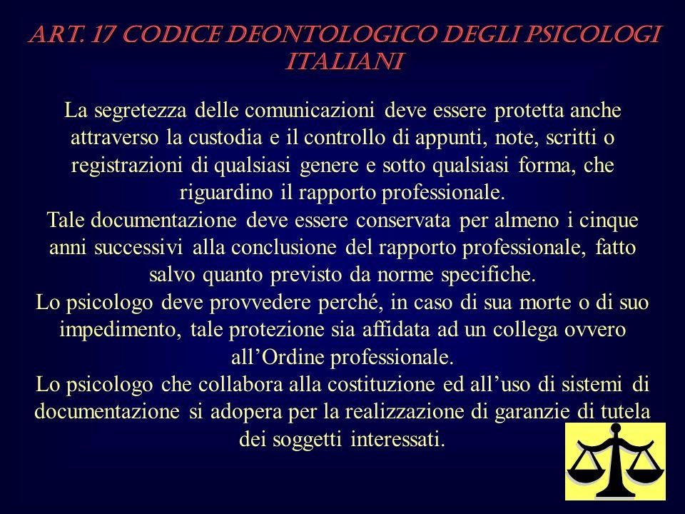 Art. 17 Codice Deontologico degli Psicologi italiani La segretezza delle comunicazioni deve essere protetta anche attraverso la custodia e il controll