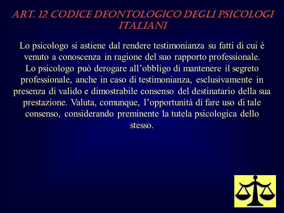 Art. 12 Codice Deontologico degli Psicologi italiani Lo psicologo si astiene dal rendere testimonianza su fatti di cui è venuto a conoscenza in ragion