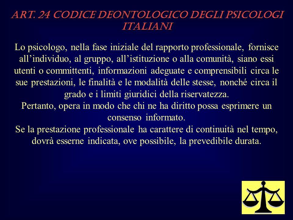 Art. 24 Codice Deontologico degli Psicologi italiani Lo psicologo, nella fase iniziale del rapporto professionale, fornisce allindividuo, al gruppo, a