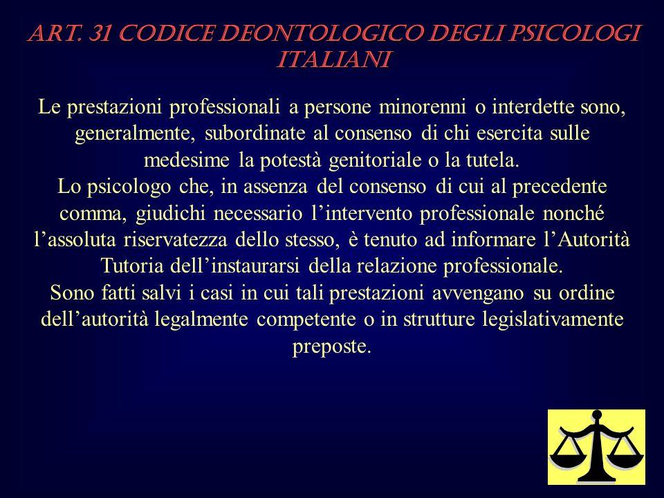Art. 31 Codice Deontologico degli Psicologi italiani Le prestazioni professionali a persone minorenni o interdette sono, generalmente, subordinate al