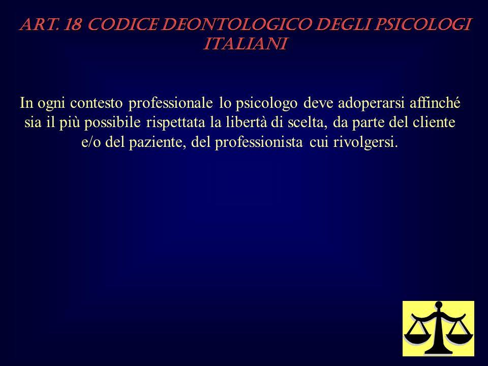 Art. 18 Codice Deontologico degli Psicologi italiani In ogni contesto professionale lo psicologo deve adoperarsi affinché sia il più possibile rispett