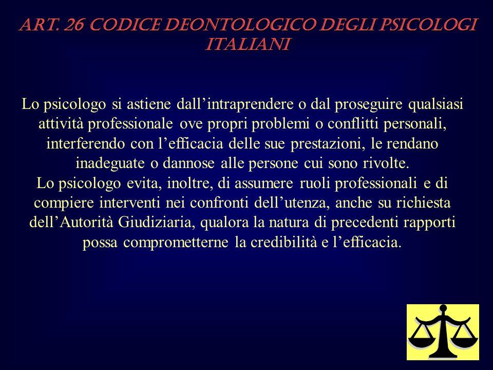 Art. 26 Codice Deontologico degli Psicologi italiani Lo psicologo si astiene dallintraprendere o dal proseguire qualsiasi attività professionale ove p