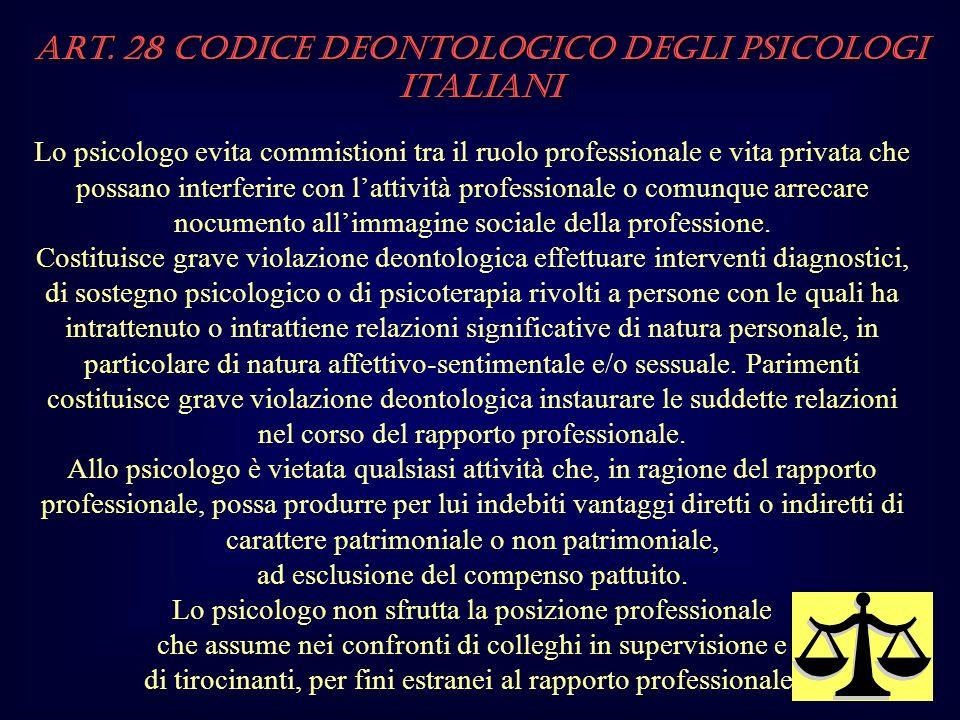 Art. 28 Codice Deontologico degli Psicologi italiani Lo psicologo evita commistioni tra il ruolo professionale e vita privata che possano interferire