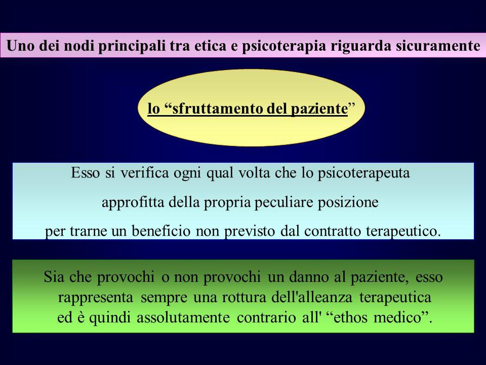 Uno dei nodi principali tra etica e psicoterapia riguarda sicuramente lo sfruttamento del paziente Esso si verifica ogni qual volta che lo psicoterape