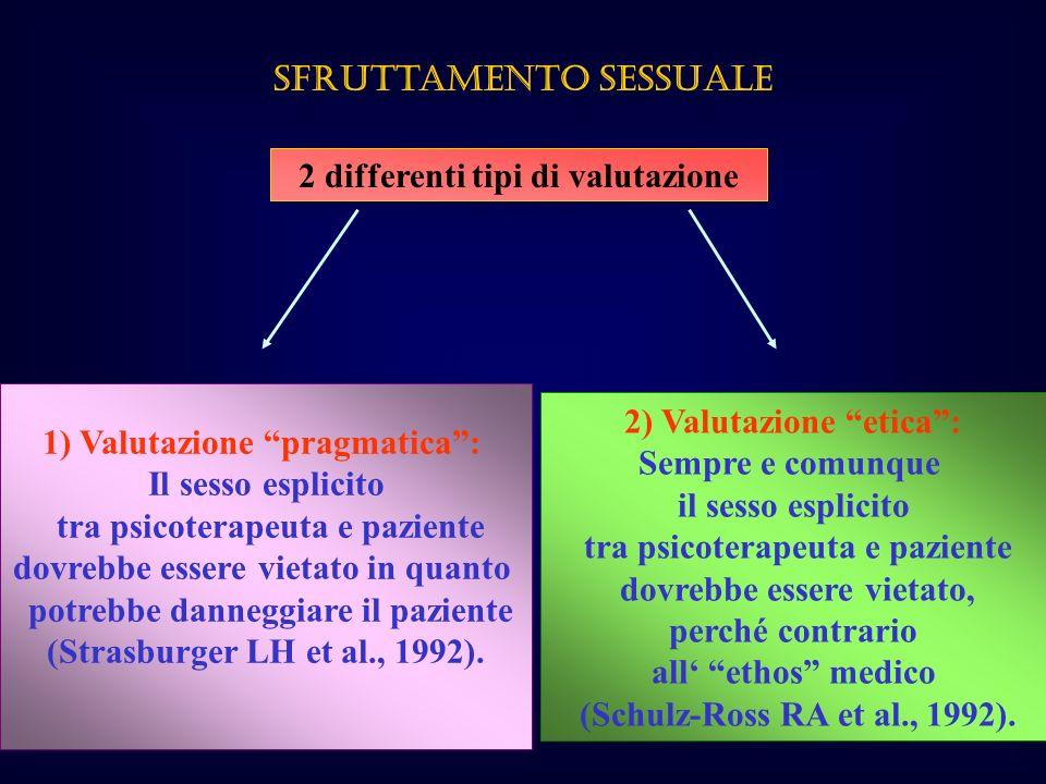 Sfruttamento sessuale 2 differenti tipi di valutazione 1) Valutazione pragmatica: Il sesso esplicito tra psicoterapeuta e paziente dovrebbe essere vie