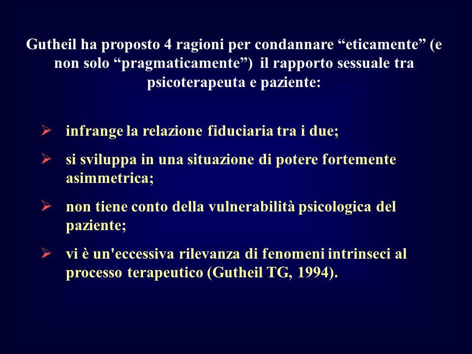 Gutheil ha proposto 4 ragioni per condannare eticamente (e non solo pragmaticamente) il rapporto sessuale tra psicoterapeuta e paziente: infrange la r