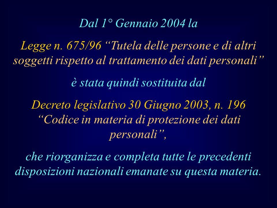 Dal 1° Gennaio 2004 la Legge n. 675/96 Tutela delle persone e di altri soggetti rispetto al trattamento dei dati personali è stata quindi sostituita d