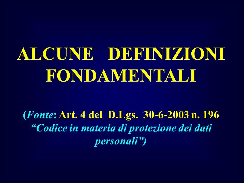 ALCUNE DEFINIZIONI FONDAMENTALI (Fonte: Art. 4 del D.Lgs. 30-6-2003 n. 196Codice in materia di protezione dei dati personali)