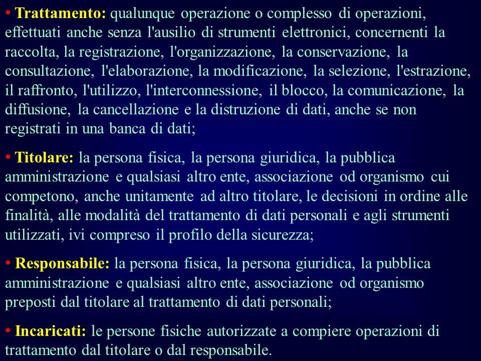 Trattamento: qualunque operazione o complesso di operazioni, effettuati anche senza l'ausilio di strumenti elettronici, concernenti la raccolta, la re