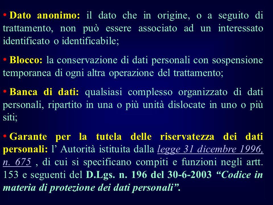 Dato anonimo: il dato che in origine, o a seguito di trattamento, non può essere associato ad un interessato identificato o identificabile; Blocco: la