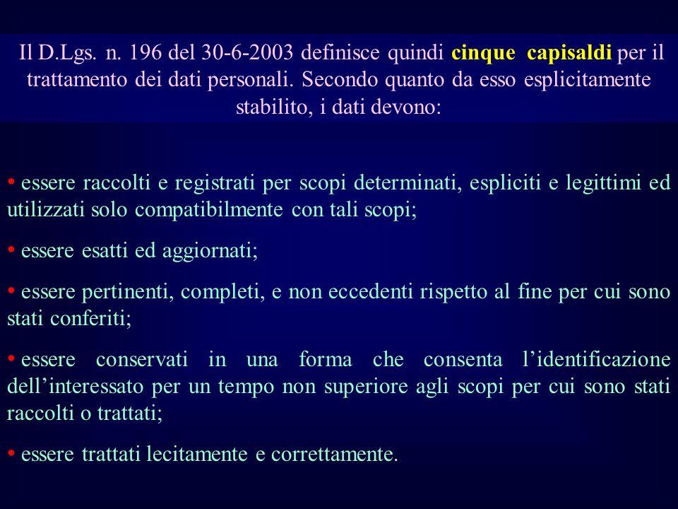 Il D.Lgs. n. 196 del 30-6-2003 definisce quindi cinque capisaldi per il trattamento dei dati personali. Secondo quanto da esso esplicitamente stabilit